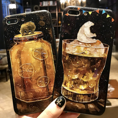 Trend embossed phone case shell for iphone 7 7 plus artic tellurion globe beverage bottle mobile cover accessories tpu+pc
