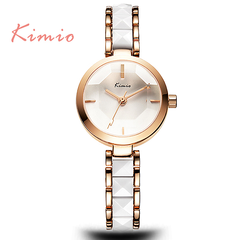 KIIMIO Women Luxury Imitation <strong>Ceramic</strong> Strap Wrist Watch Japan Movt Stainless Steel Back Watch for Dress Ladies Bracelet Watch