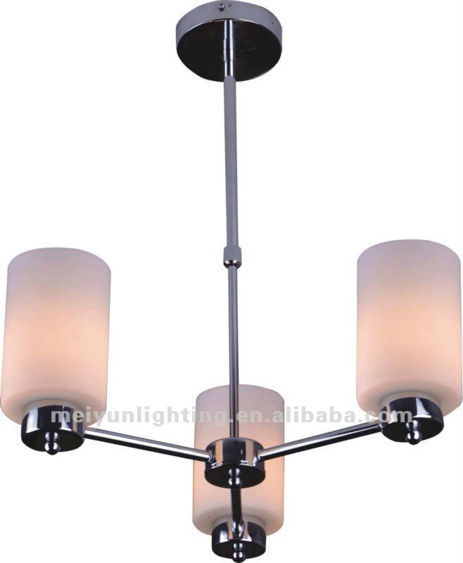 glass cup lampshade chandelier 3arms contracted