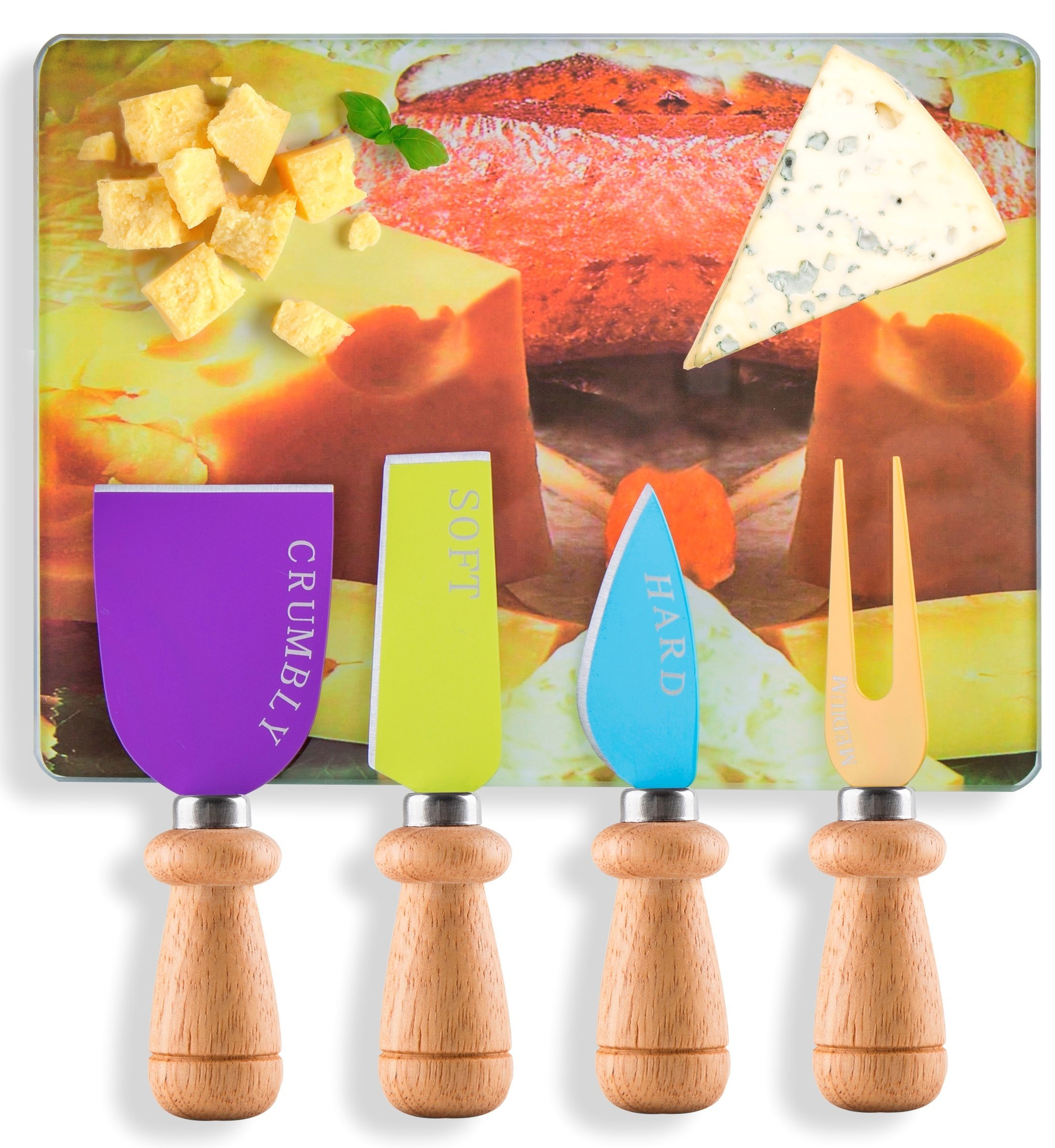 Cheese Knife & Board Set with 4 Knives & Cutting Board for Soft, Crumbly, Medium & Hard Cheese by Decodyne
