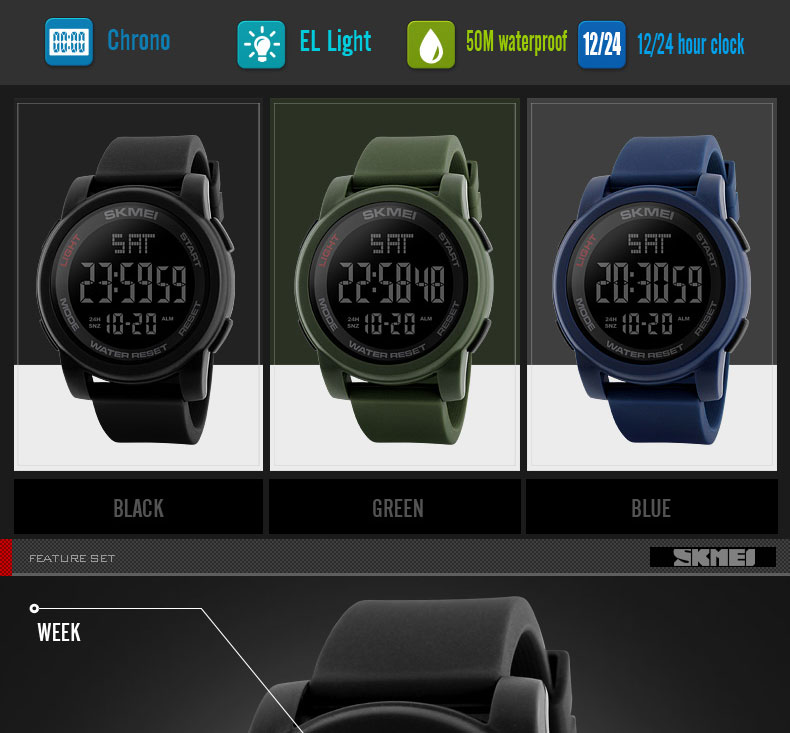 30ddf78876a8 SKMEI Big Face Dual Time Digital Watch Men Chronograph Sports Watches  Countdown Military Style Wristwatch 1257