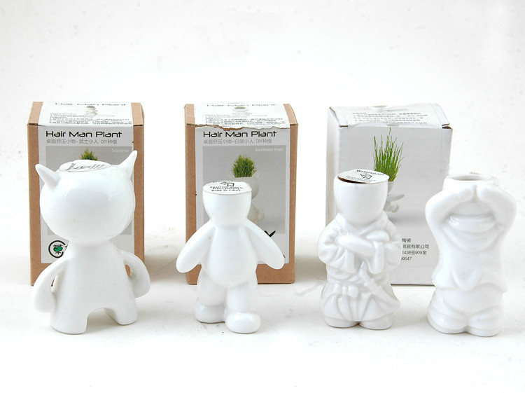 Best Deal USA Gift Toy For Girl Boy Mini Novel Bonsai Grass Doll Hair Man Plant Stand--upgrades grass doll