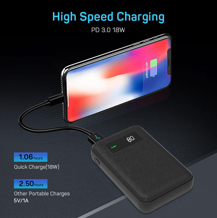 Quick Charge 18W Digital Display 10000mAh High Capacity Small Size Portable Power Bank