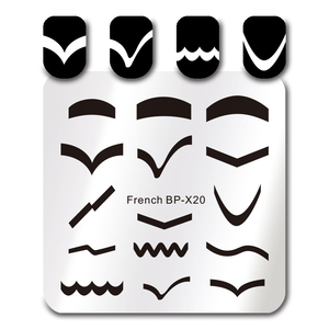 BORN PRETTY Square Nail Art Stamp Template 6*6cm French Tips Design Image Plate BP-X20
