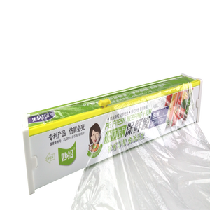 Household BPA Free Slide Cutter PE Food Grade Stretch Cling Film Plastic  Food Wrap For Sale
