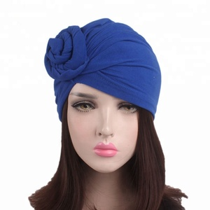 2b1542081f PEIHANLI 2018 Most Popular Magic Absorbent Twist Front Tie India Hat Solid  Color Knotted Elastic Cotton
