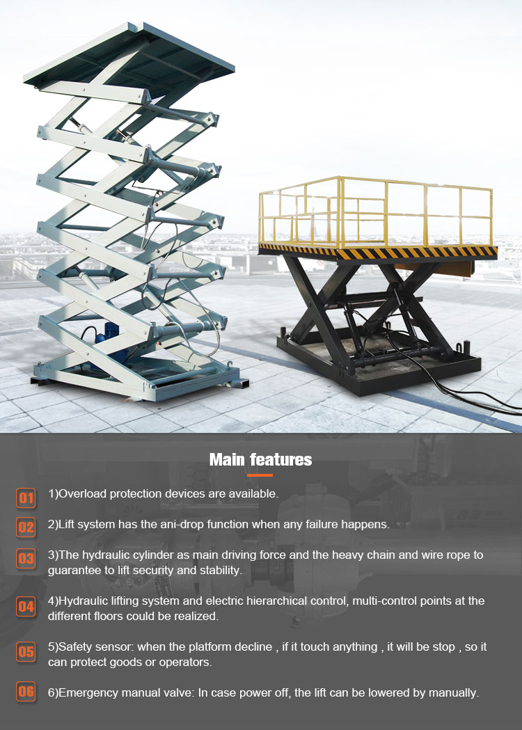 1 year warranty electric fixed hydraulic scissor lift platform