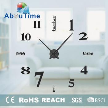 Cheap China Home Decor Wholesale DIY Large 3D Wall Clocks Mirror Wall Sticker Clock