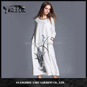 e05cb3e3c81 100% linen clothing women manufacturer knee length dresses long dresses  national style