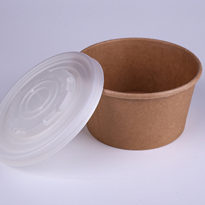Eco Friendly Disposable 12oz Kraft Paper Soup Cup With Plastic Lid