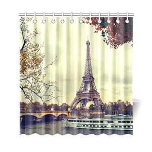 InterestPrint Paris Eiffel Tower Maple Leaves Tree Custom Home Decor 69 X 72 Inches Polyester Fabric Shower Curtain Bathroom Sets