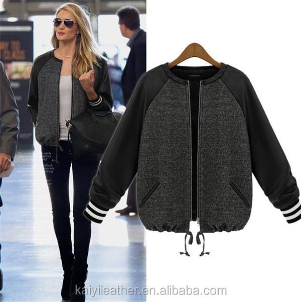 Leather sleeve baseball jacket women's – Modern fashion jacket ...