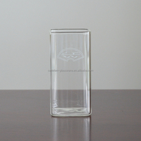 360ml borosilicate square glass cup for cold and hot drinking