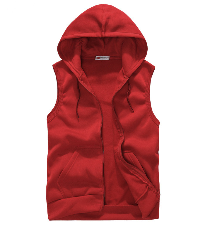 Red sleeveless hoodie trendy clothes for Plain t shirt supplier malaysia