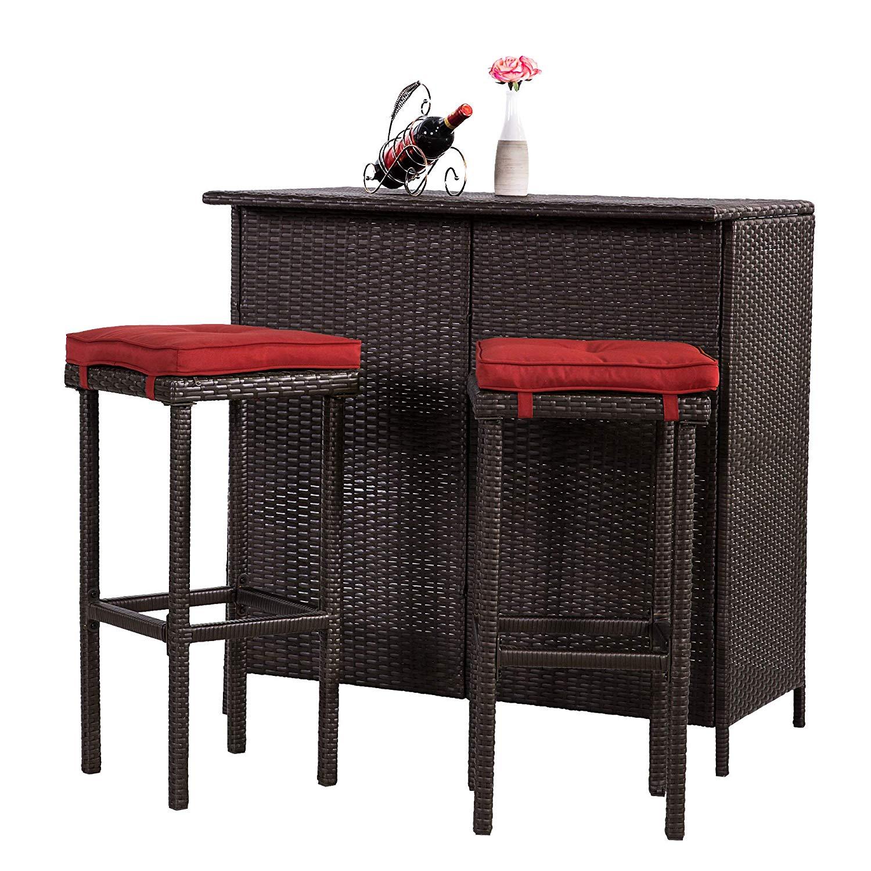 Leaptime Patio Bar Stools Furniture Dining Set Rattan 1 Table 4 Stools Pe Wicker Bar Set Stools Table Set Garden Outdoor Set Black Wicker Beige Cushion Bar Sets