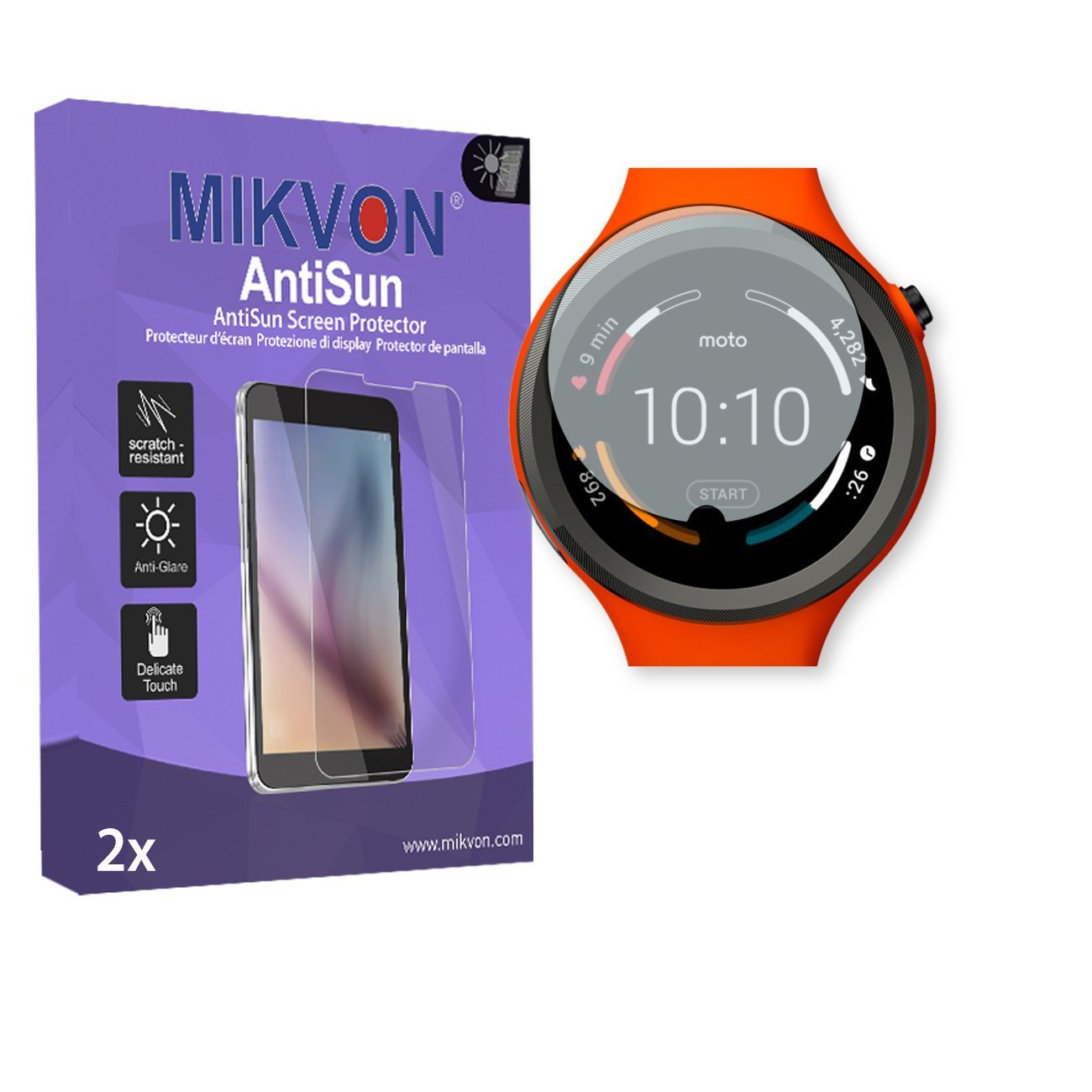 2x Mikvon AntiSun Screen Protector for Motorola Moto 360 Sport Smartwatch - Retail Package with accessories (intentionally smaller than the display due to its curved surface)