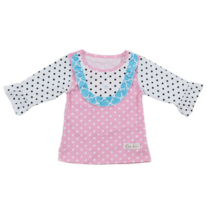 Kaiyo Online clothing store wholesale icing ruffle t shirts dot bib ruffle top cute baby girls long sleeve top