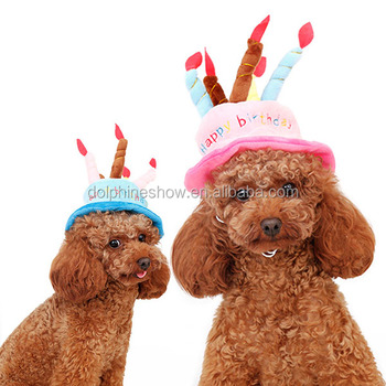 Happy Birthday Cake Hat For Pet Dog Small Animal Cat Cape Wholesale