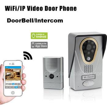 sans fil wifi sonnette avec cam ra ir enregistrement vid o interphone syst me d 39 interphone ip. Black Bedroom Furniture Sets. Home Design Ideas