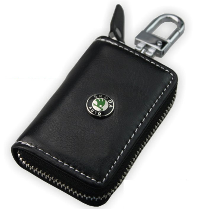 High quality 1pcs 360 rotation unisex genuine cow leather car key case wallets for skoda cars keys bag free shipping