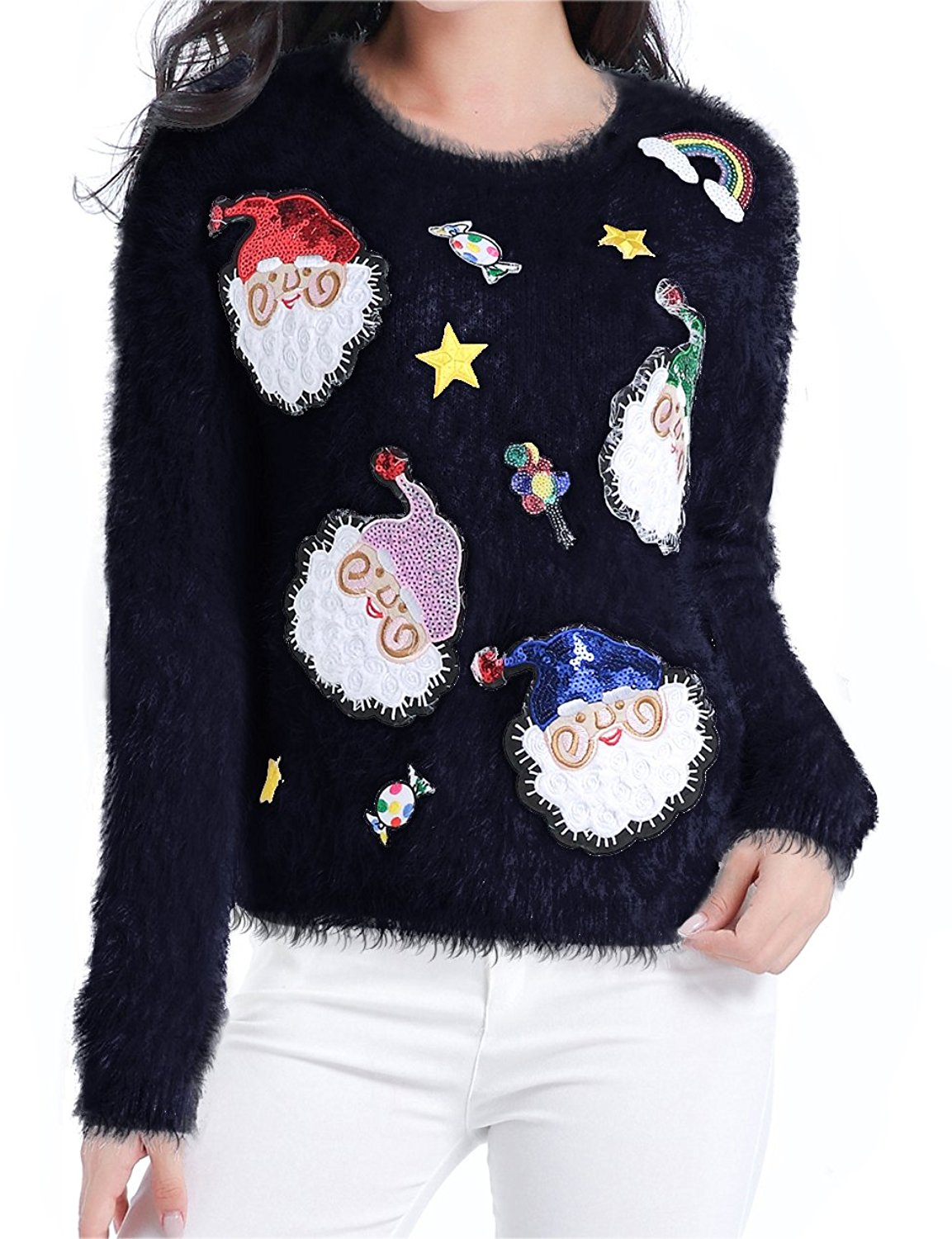Paskyee Youth Kids Cute Crewneck Knitted Pullover Ugly Christmas Sweater
