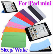"New Cheap 9 colors 7.9 inch Slim Smart Case Cover 7.9"" PU Leather Magnetic Case with Stand sleep/ wake function for iPad Mini"