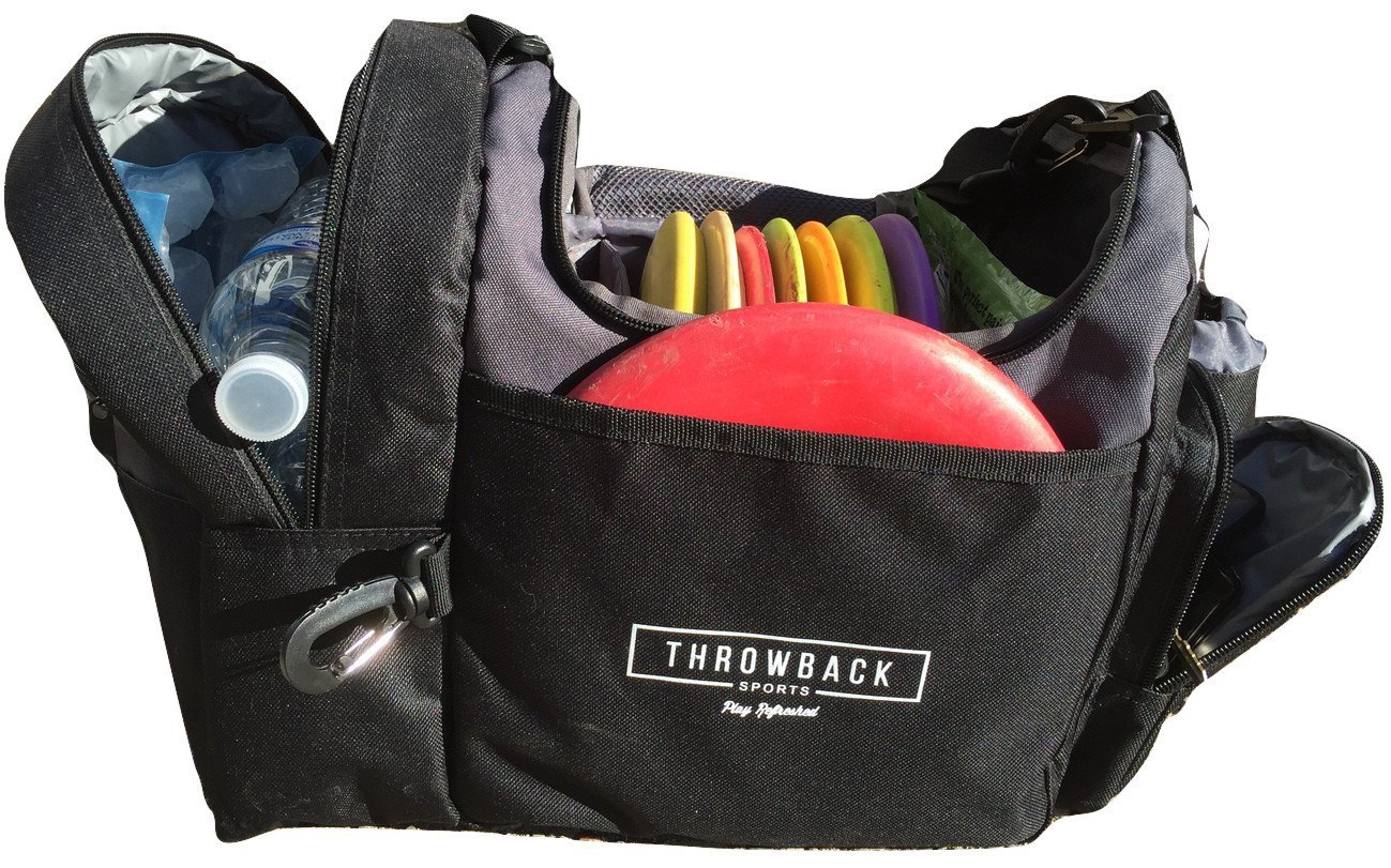 The Throwback Sack - Frisbee Disc Golf Bag with Cooler and Extra Padding, Comfortable Strap - Holds 12 - 15 Discs and 6 Cold Drinks