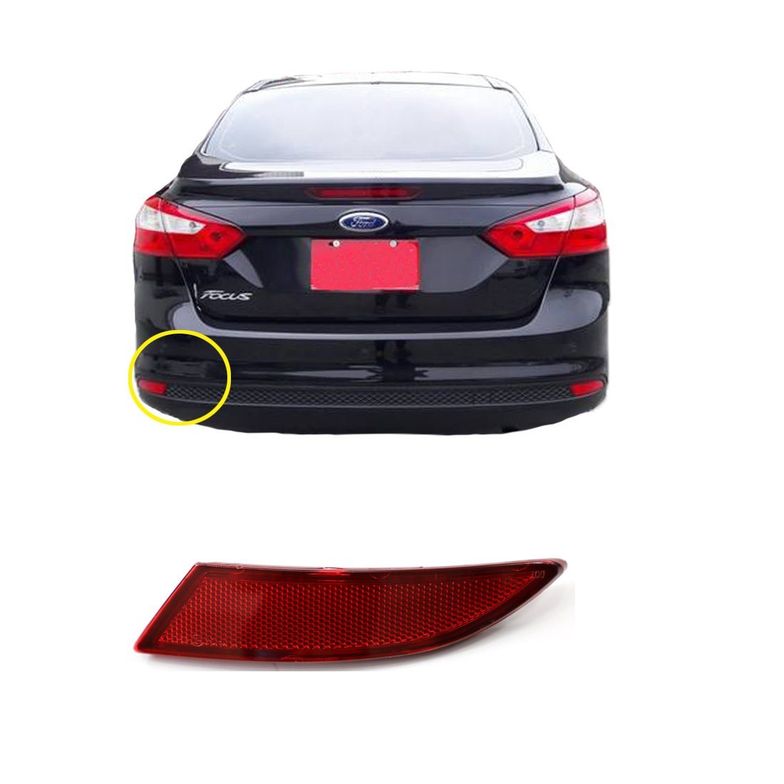 Vakabva BM5Z13A565B Rear Bumper Reflector Left for 2012-2017 Ford Focus Sedan