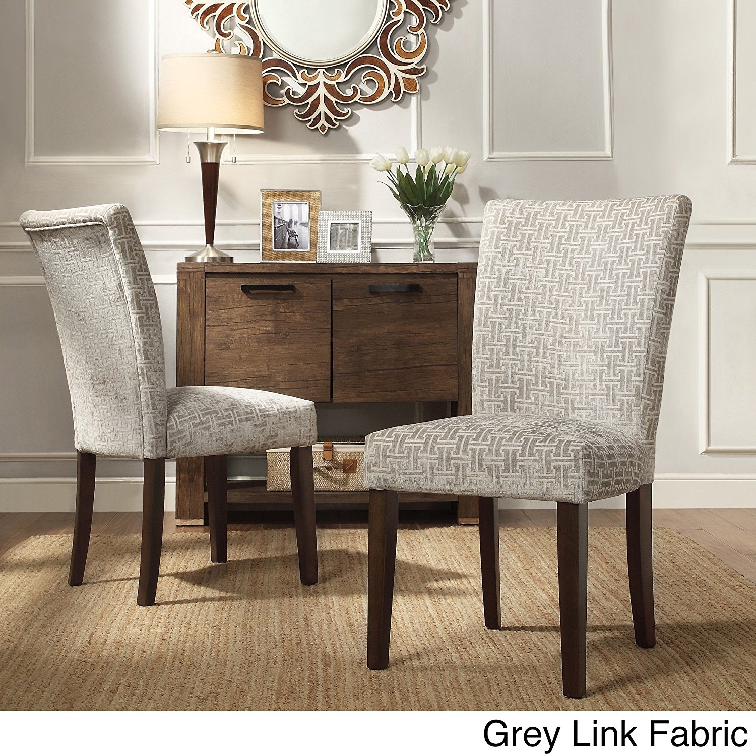 Cheap grey dining room chairs find grey dining room chairs deals on get quotations bistro dining chairs set of 2 grey link fabric parsons side chair dzzzfo