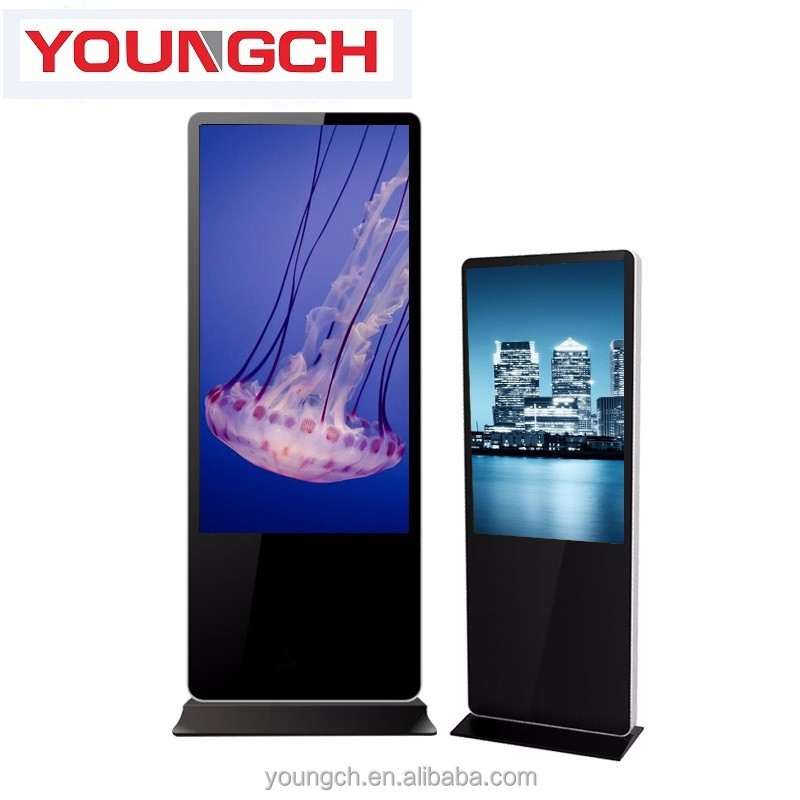 Ad play on interactive high brightness 43 inches totem monitor vertical screen media player easy to manipulate and control way
