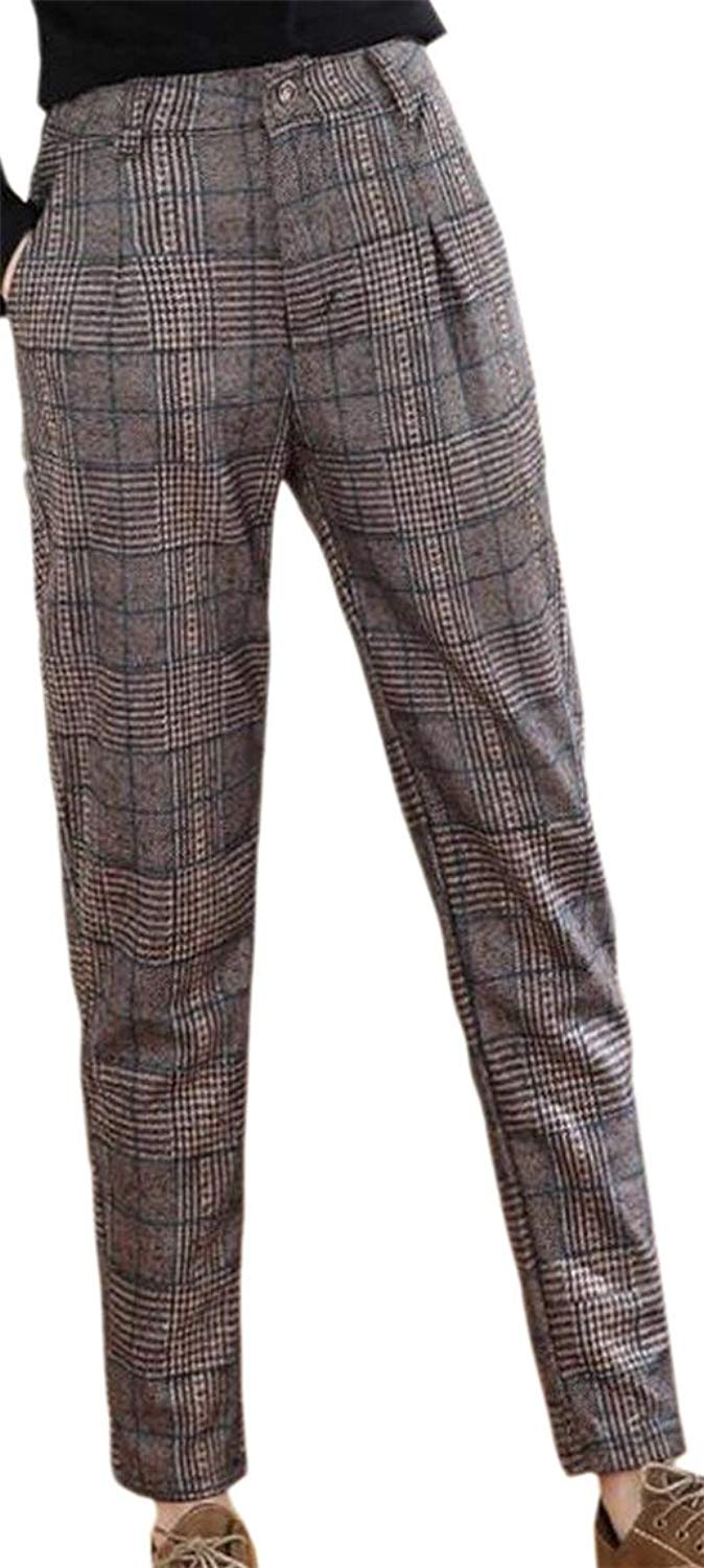 702d12f25 Get Quotations · Smeiling Women's High Waisted Plaid Checkered Leisure Harem  Pants Athletic Pants