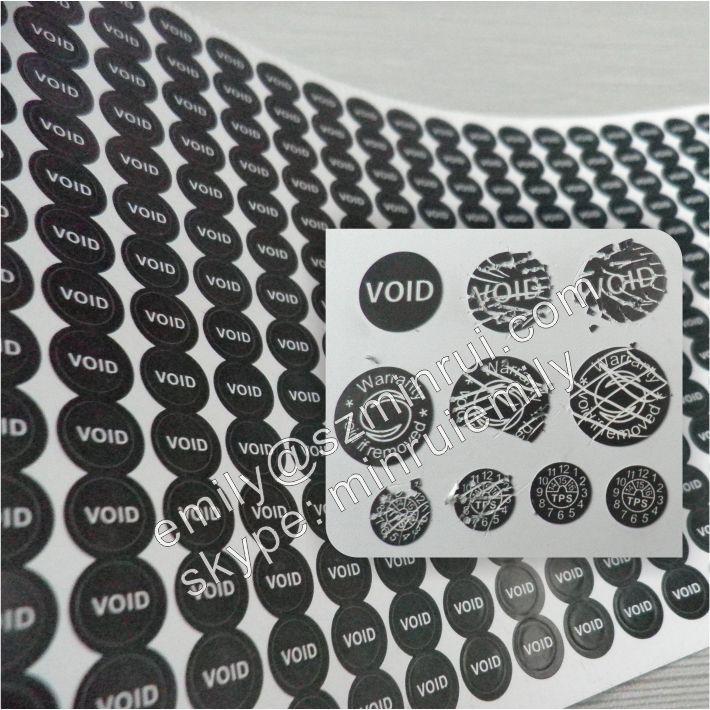 Custom Brittle Black Round Tamper Proof Screw Void Sticker
