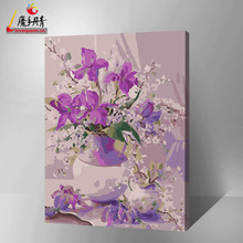handmade beautiful flower vase oil painting designs on canvas 2016