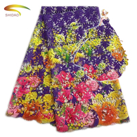 Wholesale competitive price latest colorful floral african large print lace dress fabric