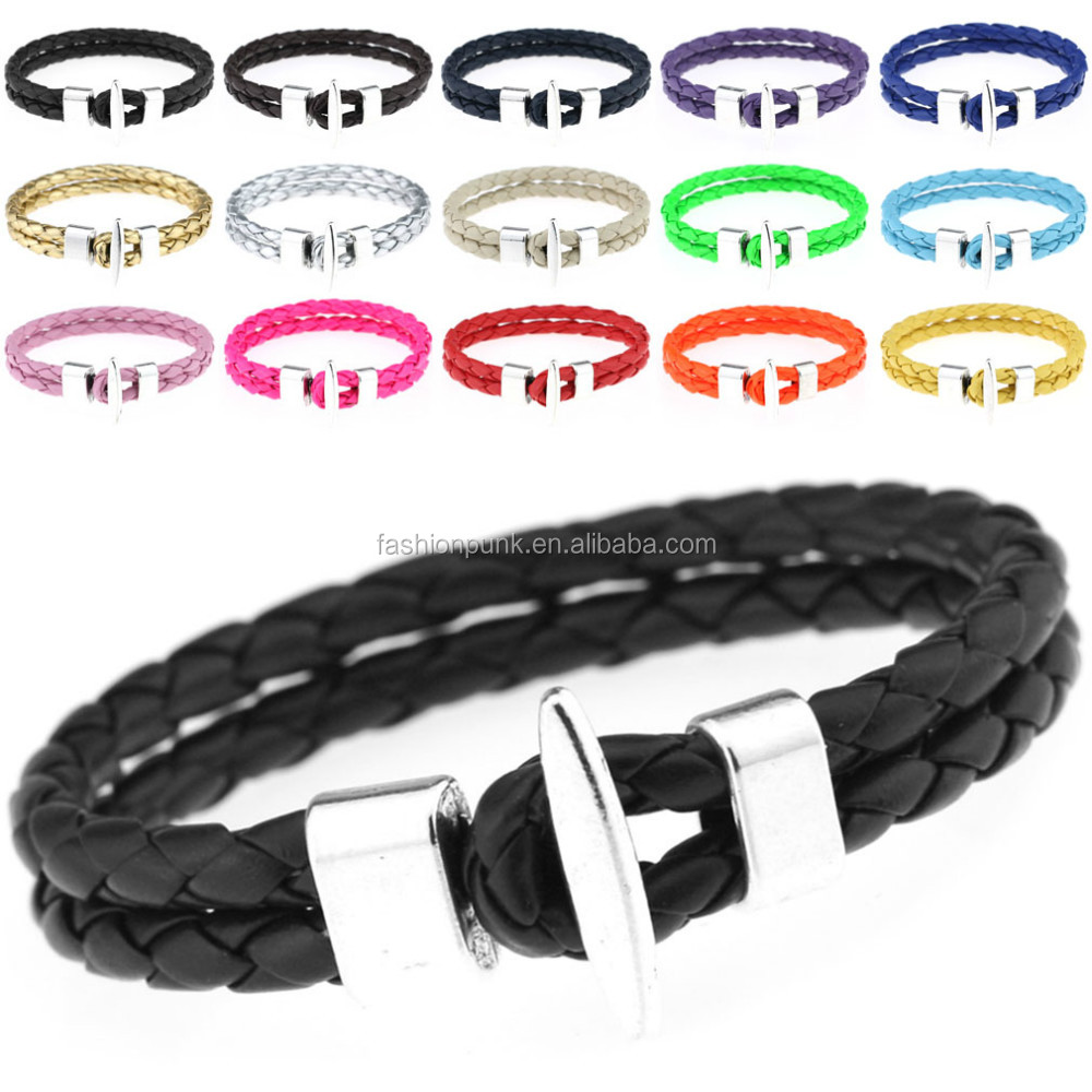 Punk Style Fashion Jewelry Metal Clasp Bangle Braid PU Leather Charm Bracelet