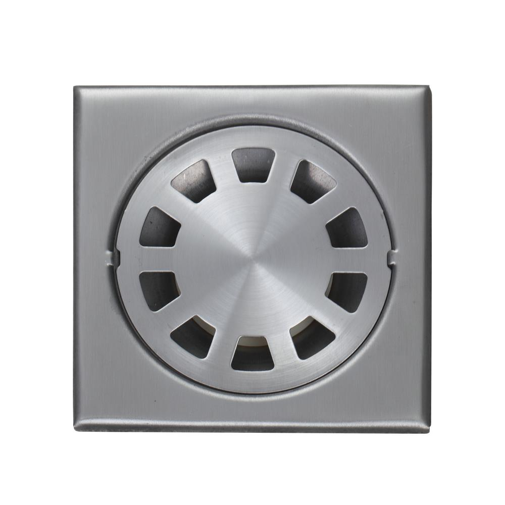 Get Quotations · E Pak 5660 Nickel Brushed 4 Inch 304 Stainless Steel Shower  Square Bathroom Floor Drain