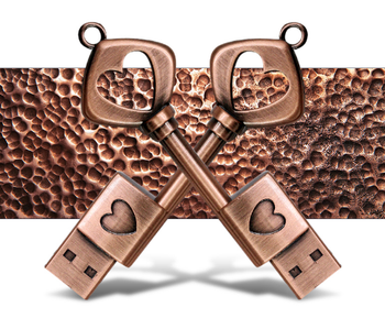 Copper Love Shape Key USB 2.0 Pen Drive u disk 4GB 8GB 16GB usb flash drive memory stick for gift