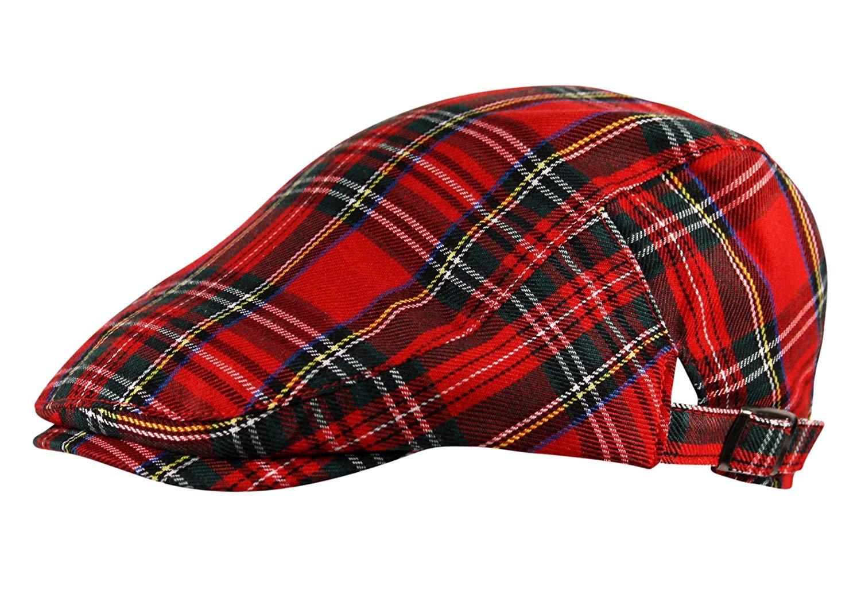 642b46fb9a6a2 Get Quotations · Itzu Flat Cap Hat Newsboy Gatsby Scottish Tartan Check in  Red