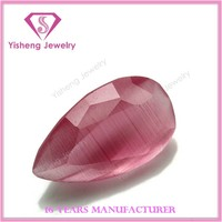 Machine Cut Faceted Table Synthetic Cat Eye Stone, Pink Artificial Stone