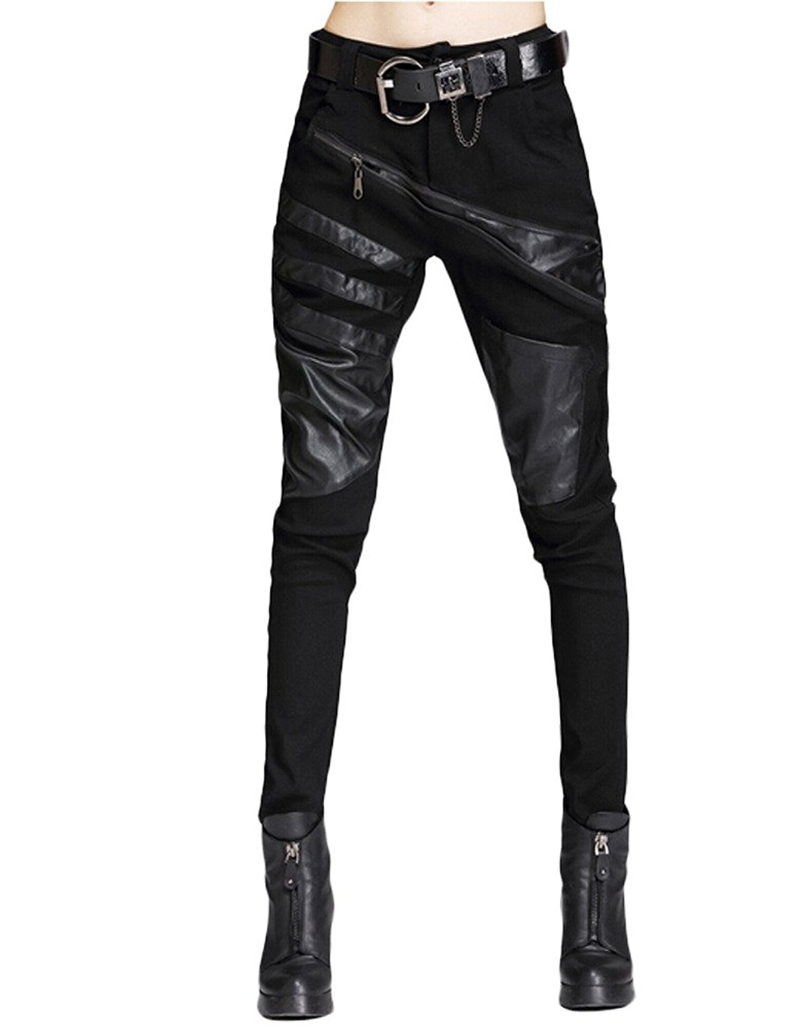 67d9aa6bf4e Buy Minibee Pernalized Punk Street Style Harem Pants Patchwork ...