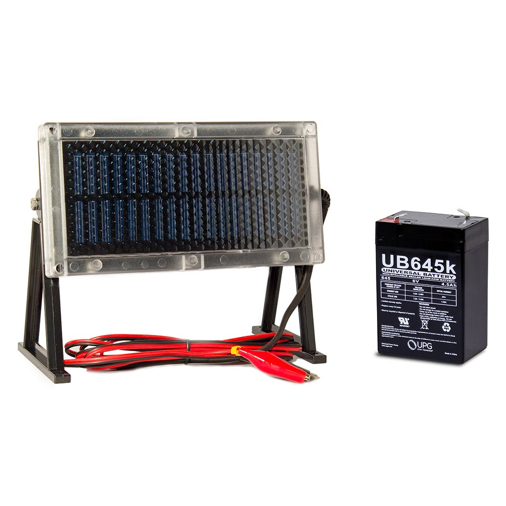 Universal Power Group UB645 6V 4.5Ah Battery Wildgame W225D Feeder + 6V Solar Panel Charger