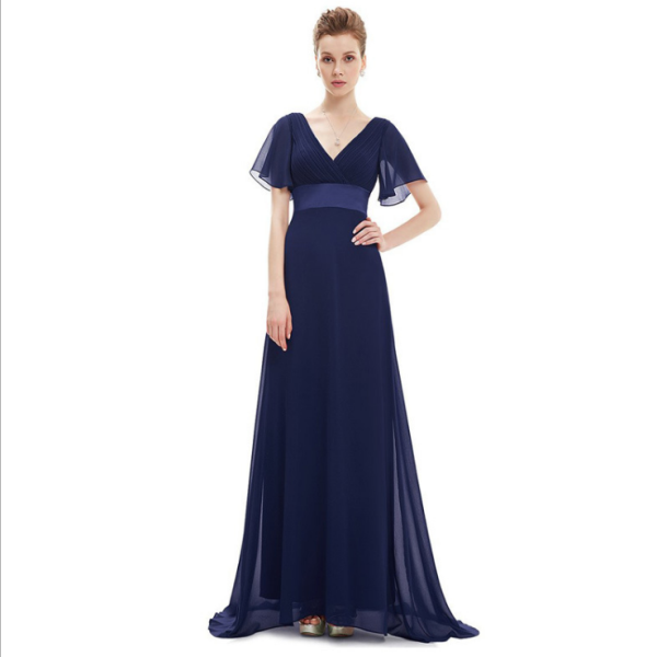 Cheap fashion chiffon V-neck long dresses short sleeve high waist open back bohemain chinese wedding dress mother of the bride