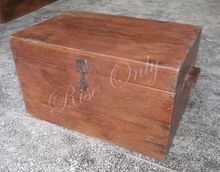 wooden teak antique trunk and box