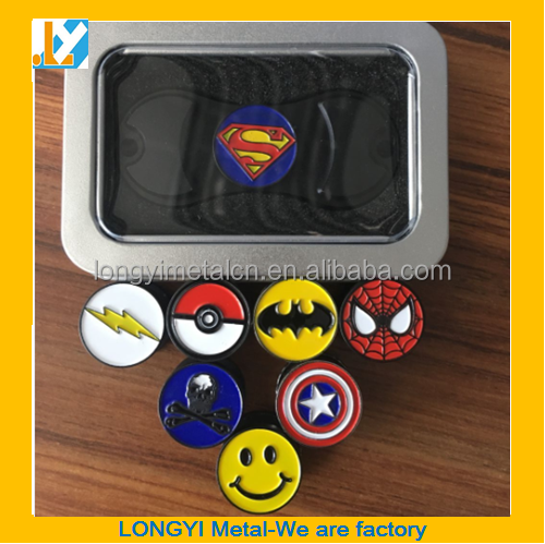 New Aluminum Fidget Spinner with superman button/Cap