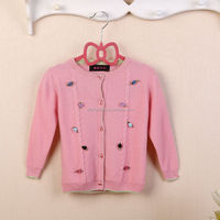 knit sweater baby cardigan with flowers 2015 new design