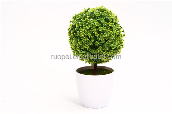 home decor Small round shape artificial topiary trees with pot