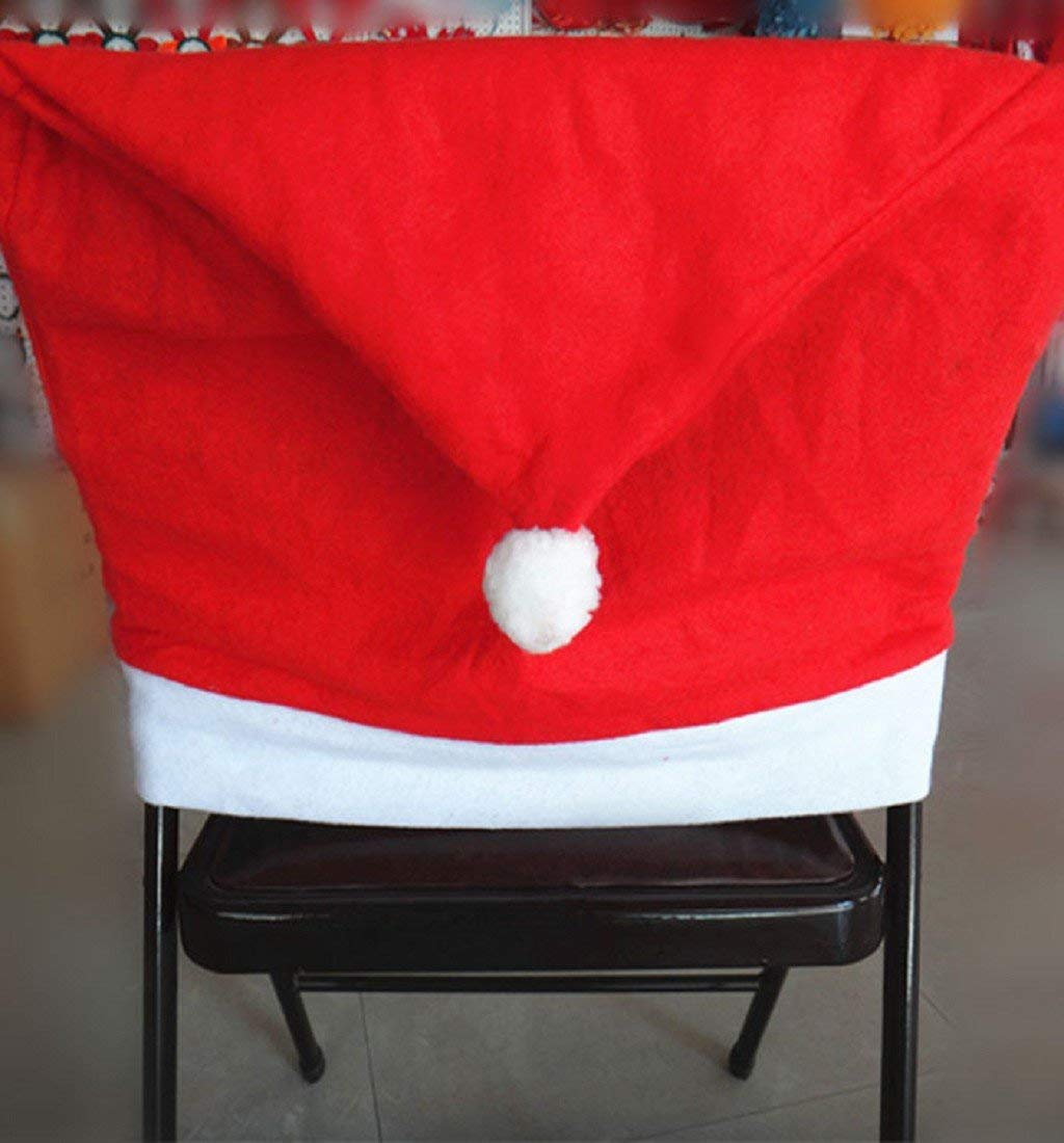 PHOTNO 1pcs Santa Red Hat Chair Covers Christmas Decorations Dinner Chair Xmas Cap Sets