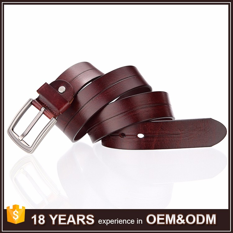 China Manufacture Alloy Pink Buckle Vintage Tan Belt Men Genuine Leather