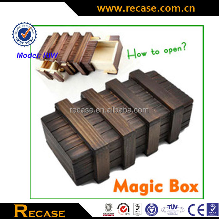 Larger Magic Puzzle Wooden Box with Secret Drawer