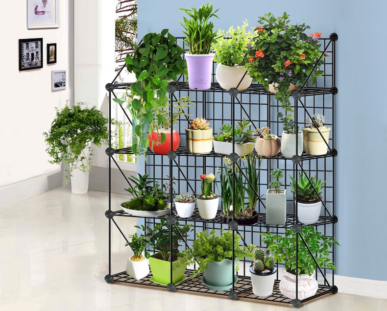 Decoration folding iron Plant Stand With Three Shelves / Wooden Flower pot Shelf / Plant Rack